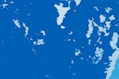 Белая и голубая абстрактная текстура предпосылки Карта фантазии с северным бечевником, морем, океаном, льдом, горами, облаками стоковые изображения