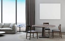 Белая и серая живущая комната с софой, обеденным столом, столбом модель-макета иллюстрация вектора
