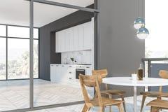 Белая и серая кухня с балконом бесплатная иллюстрация