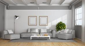 Белая и серая современная живущая комната иллюстрация штока