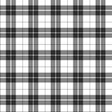 Белая и черная предпосылка ткани шотландки Стоковые Фотографии RF