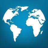 Белая карта мира или глобальное картоведение на голубой предпосылке Иллюстрация вектора для вашего дизайна иллюстрация вектора