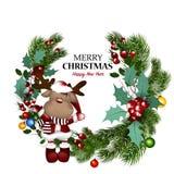 Белая карточка с венком и смычком рождества также вектор иллюстрации притяжки corel Стоковое фото RF
