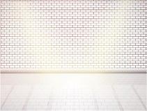 Белая кирпичная стена и деревянный пол Пустой интерьер вектора иллюстрация штока