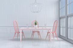 Белая комната еды влюбленности на день ` s валентинки Предпосылка и интерьер 3d представляют Стоковое Изображение RF