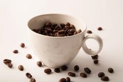 Белая кофейная чашка и зажаренные в духовке кофейные зерна огораживают искусство Стоковое Изображение