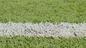 Белая линия футбольного поля Съемка слайдера конца-вверх горизонтальная сток-видео