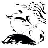 Белая лиса с черным кабелем Стоковое Изображение RF