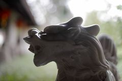 Белая мраморная скульптура kirin Стоковые Изображения RF