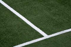 Белая нашивка на футбольном поле Стоковое Фото