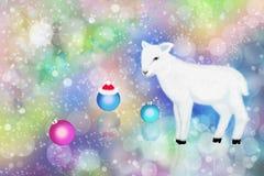 Белая овечка и цветастое bokeh Стоковые Фотографии RF