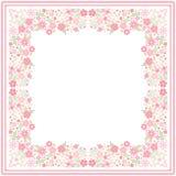 Белая печать bandana с красивой флористической границей со светлыми красными цветками и зелеными листьями в векторе Квадратная ка иллюстрация вектора