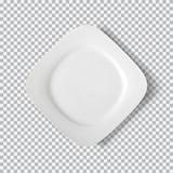 Белая плита изолированная на прозрачной предпосылке стоковая фотография rf