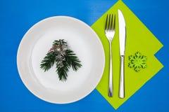 Белая плита и зеленое украшение рождества стоковые фотографии rf