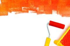 Белая поверхность покрашенная в красном цвете Картина оборудует плоский взгляд Стоковое фото RF