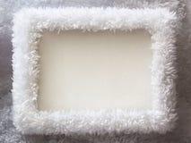 Белая предпосылка рамки зимы шерсти Стоковое фото RF