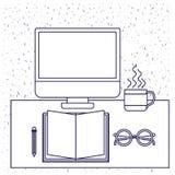 Белая предпосылка с голубым силуэтом стола офиса с книгой компьютера и стеклами и карандашем и кофейной чашкой Стоковые Изображения