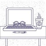 Белая предпосылка с голубым силуэтом стола офиса с портативным компьютером и стеклами и ручкой и кофейной чашкой Стоковые Изображения RF
