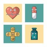 Белая предпосылка с комплектом рамок с помощью ИМПа ульс и пилюльки и запрета сердца и бутылкой медицины иллюстрация штока