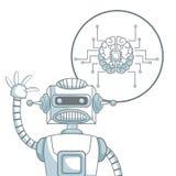 Белая предпосылка с цветом силуэта распределяет shading робота крупного плана и мозга значка с цепями иллюстрация вектора