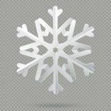 Белая реалистическая сложенная бумажная снежинка рождества с тенью изолированной на прозрачной предпосылке 10 eps иллюстрация вектора