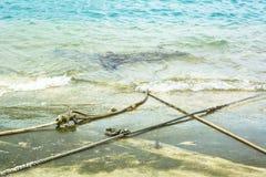 Белая роба анкера на пляже цемента Стоковое фото RF