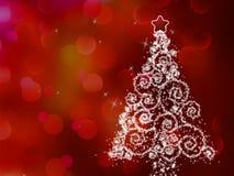 Белая рождественская елка на абстрактном свете. EPS 8 Стоковое Изображение