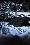 Белая снежная предпосылка с деревом и конура в заднем дворе на ноче Стоковые Фото