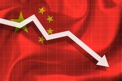Белая стрелка падает на фоне флага Китая иллюстрация штока