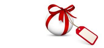 Белая сфера с красным смычком и пустой панорамой талона подарка иллюстрация штока