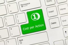 Белая схематическая клавиатура - цена в ключ зеленого цвета действия стоковая фотография rf