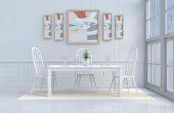 Белая украшенная комната еды Стоковая Фотография