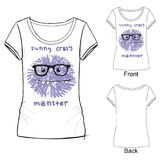 Белая футболка с печатью моды с извергом иллюстрации вектора смешным шальным Иллюстрация эскиза нарисованная с покрашенными crayo иллюстрация вектора