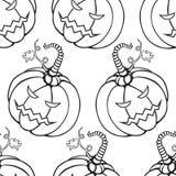Белая хеллоуина безшовная и черная предпосылка с тыквами иллюстрация штока