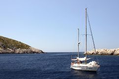 белая яхта Стоковая Фотография