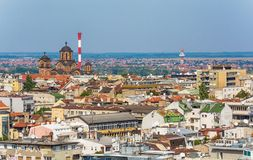 Белград, Сербия 11 09 2017 : Панорама Белграда принятая от Святого Sava виска Стоковое Фото