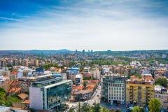 Белград, Сербия 11 09 2017 : Панорама Белграда принятая от Святого Sava виска Стоковые Изображения
