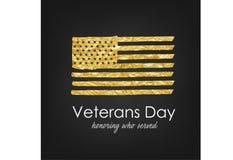 белизна афиши изолированная днем мемориальная День ветеранов Флаг США с текстурой золота Удостаивающ кто служило иллюстрация штока