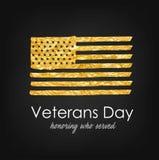 белизна афиши изолированная днем мемориальная День ветеранов Флаг США с текстурой золота Удостаивающ кто служило бесплатная иллюстрация