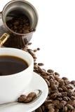белизна бака кофейной чашки фасолей изолированная стоковые изображения