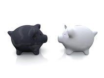 белизна банка черная piggy Стоковое Изображение