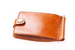 белизна бумажника предпосылки кожаная Портмоне дорогого человека стоковое фото