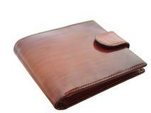 белизна бумажника предпосылки коричневая глянцеватая Стоковое Фото