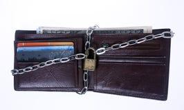 белизна бумажника предпосылки locked Стоковые Изображения RF
