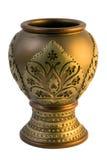 белизна вазы глины золотистая изолированная Стоковое Фото