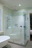 белизна ванной комнаты черная Стоковое фото RF