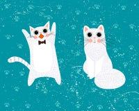 белизна вектора иллюстрации конструкции кота предпосылки установленная Шарж иллюстрации вектора Стоковые Фото