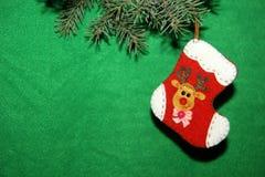белизна вектора носка иллюстрации подарка рождества красная Стоковые Изображения