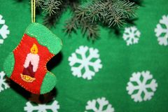 белизна вектора носка иллюстрации подарка рождества красная Стоковое Изображение