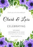 белизна венчания вектора приглашения чертежей карточки предпосылки Симпатичный шаблон Дизайн карточки с фиолетовым цветком ветрен Стоковые Изображения RF